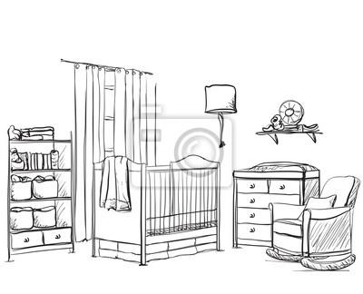 Fototapete Hand Gezeichnete Kinderzimmer Mobel Skizze