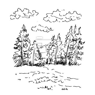 hand gezeichnete landschaft mit see und wald skizze vektor illustration fototapete. Black Bedroom Furniture Sets. Home Design Ideas