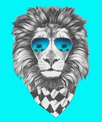 Fototapete Hand gezeichnete Porträt der Löwe mit Sonnenbrille und Schal. Vector isoliert Elemente.