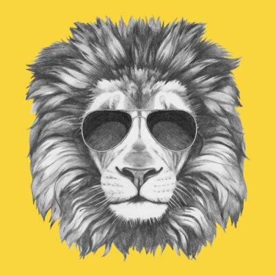 Fototapete Hand gezeichnete Porträt der Löwe mit Sonnenbrille. Vector isoliert Elemente.