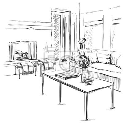 Hand gezeichnete rauminnenskizze. stuhl, sofa, tisch, blumentopf ...