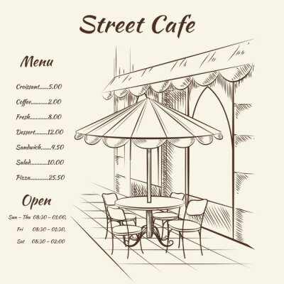 Fototapete Hand gezeichnete Straßencafé Hintergrund