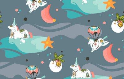 Fototapete Hand gezeichnete Vektor abstrakte Grafik kreative Cartoon Illustrationen nahtlose Muster mit Kosmonauten Einhörnern mit Old School Tattoo, Kometen und Planeten im Kosmos isoliert auf dunklem Hintergru