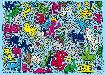 Fototapete Hand gezeichnete Vektor-Illustration des lustigen Tieres des Gekritzels, Illustratorlinie Werkzeugzeichnen, flaches Design