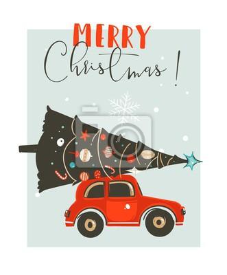 Auto Weihnachtsbaum.Fototapete Hand Gezeichnete Vektorillustrations Karten Designschablone Der