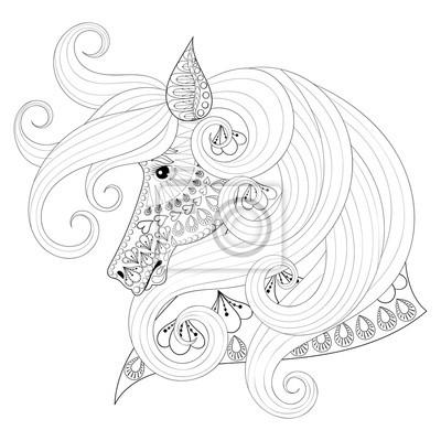 Fototapete Hand Gezeichnete Zentangle Zierpferd Für Erwachsene Malvorlagen