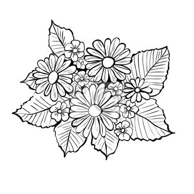 Hand Gezeichneten Blumen Schwarz Weiss Bouquet Mit Ganseblumchen