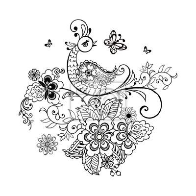 Hand Gezeichneten Blumen Und Fantastischen Vogel Fur Die Anti Stress