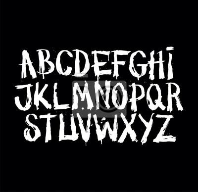 Hand gezeichneten grunge Schriftart. Detaillierte Vektor-Alphabet