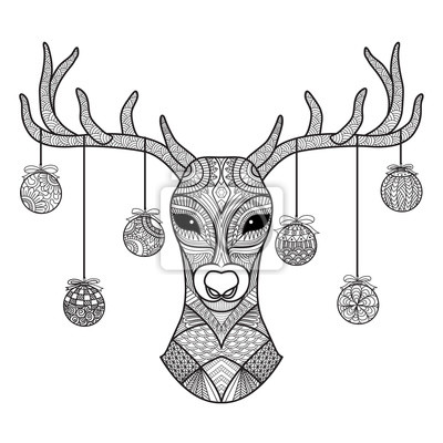 Hand gezeichneten rotwildkopf mit den weihnachtskugeln, die an ...