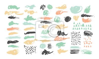 Hand gezeichneten Texturen und Pinsel mit Tinte und Aquarell.