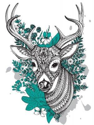 Fototapete Hand gezeichneten Vektor Horn Reh mit hohen Details Ornament