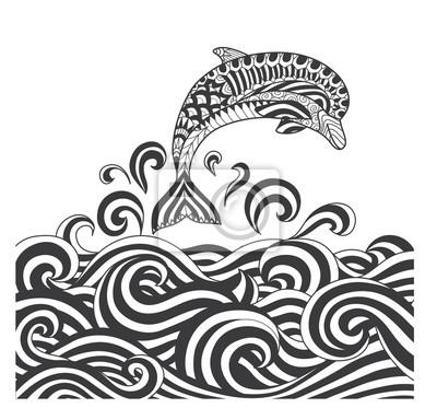 Hand gezeichneten zentangle delphin mit scrolling sea wave für ...