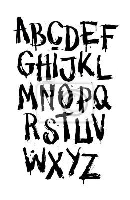 Hand gezeichneter grunge Schriftart. Detaillierte Vektor-Alphabet