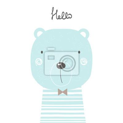 Fototapete Hand gezeichneter kühler Bär. Vervollkommnen Sie für Kinderdruck, Plakat. Vektor-Illustration.