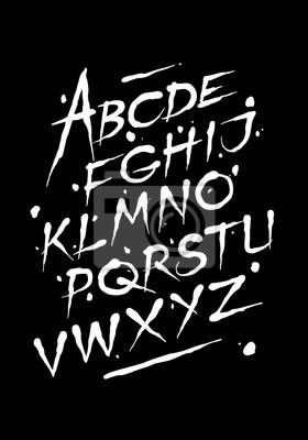 Hand gezeichneter Tinte font. Bearbeitbare Vektor-Alphabet
