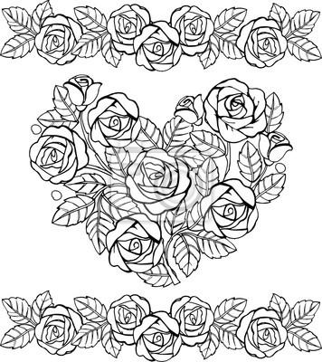 Hand gezeichnetes blumenherz monochrom. herz aus rosen für die ...