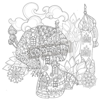 Hand gezeichnetes doodle umriss magische pilze und feenhaftes ...