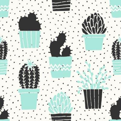 Fototapete Hand gezeichnetes Kaktus-Muster