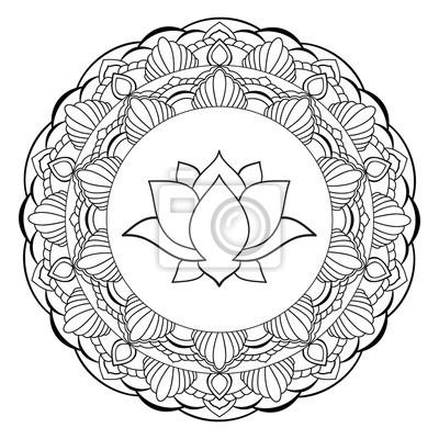 hand gezeichnetes lotus mit mandala orientalische ornamente fototapete fototapeten ohm shiva. Black Bedroom Furniture Sets. Home Design Ideas