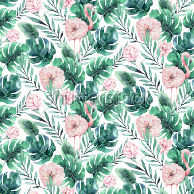 Fototapete Hand gezeichnetes nahtloses Muster des Vogelflamingos des Aquarells tropisches. Exotische rosafarbene Vogelillustrationen, Dschungelbaum, modische Kunst Brasiliens. Perfekt für Stoffdesign. Aloha