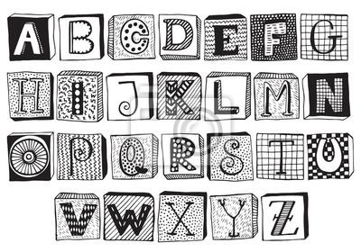 Fototapete Hand gezeichnetes Phantastik Alphabet auf Blöcken