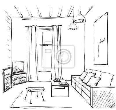 Hand Gezeichnetes Raum Interieur Skizze Stuhl Und Fenster