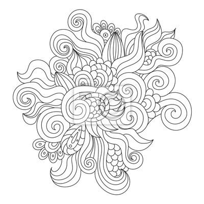 Hand gezeichnetes schwarzes und weißes zentangle Element