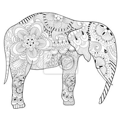 Hand Gezeichnetes Zentangle Elefant Mit Mandala Für Erwachsene