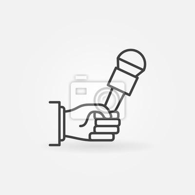 Hand hält mikrofonsymbol fototapete • fototapeten Masse, newsman ...