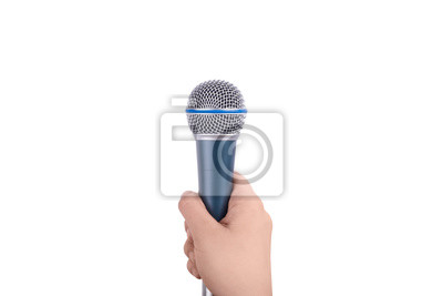 Fototapete hand holding microphone for the interview, isolated on white background