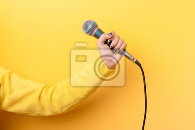 Fototapete hand holding microphone over yellow background