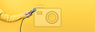 Fototapete hand holding microphone over yellow background, panoramic mock up image