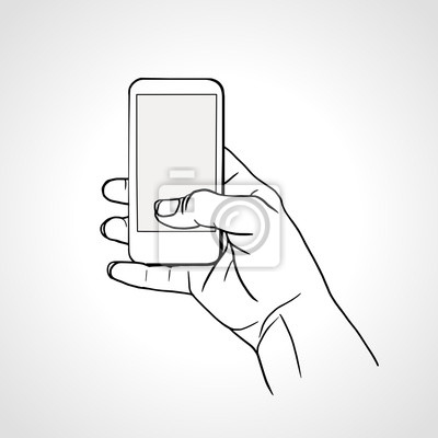 Hand Holding Mobile, arm with cell, line art