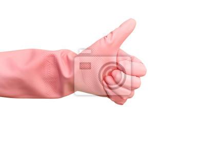 Hand in Gummihandschuh isoliert auf weiß