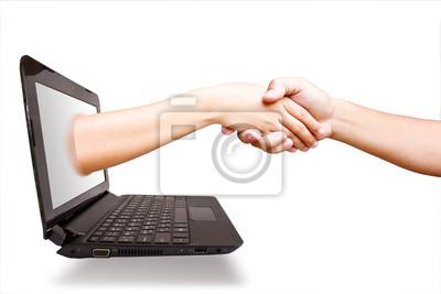 Fototapete Hand Laptop.