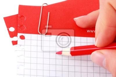 Hand schreiben auf rotem Streifen Notizen mit Clip.