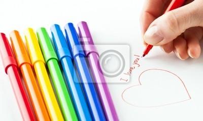 """Hand schreiben """"Ich liebe dich"""" mit rotem Filzstift"""