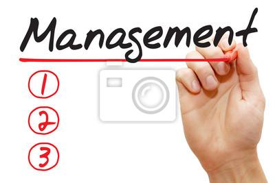 Hand schreiben Managementliste mit roten Marker, Business-Konzept