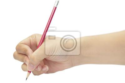 Hand schreiben mit Rotstift