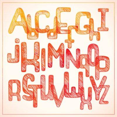 Hand schreiben rotes Alphabet