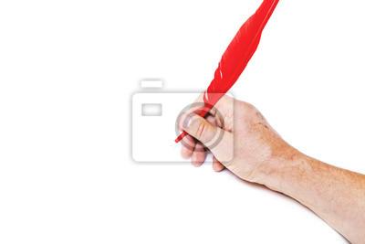 Hand schreibt roten Stift auf weißem Hintergrund