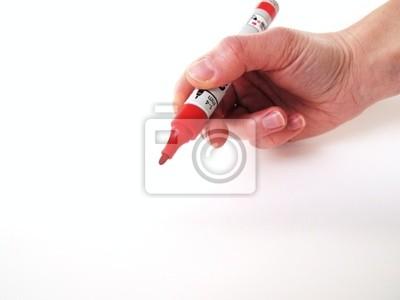 Hand schriftlich mit einem roten Stift