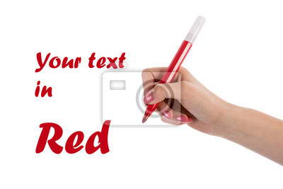 Hand schriftlich mit Rotstift auf weißem Hintergrund