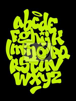 Hand Schriftzug Graffiti Schriftart. Vektor-Alphabet