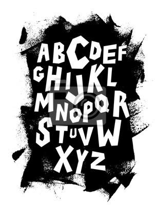 Hand Schriftzug Schriftart auf grungy Hintergrund. Vektor-Alphabet