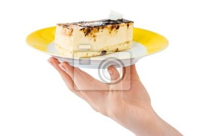 Fototapete Hand Und Teller Mit Kuchen