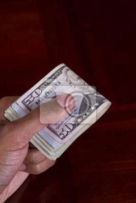 Hand voll Geld 50 Dollar Bill auf der Oberseite