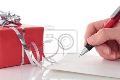 Hand Writing in Karte von Red Valentines Day Geschenk