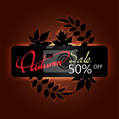 hand writing red Autumn text  boder, Banner Sale premium  black leaf maple